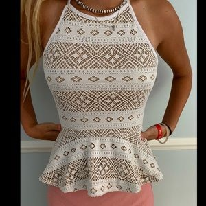 Love Day White&Tan Tribal Print Top